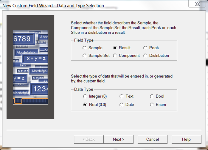 Empower Tips: Custom Field wizard / Data and Type Selection screen | Figure 1